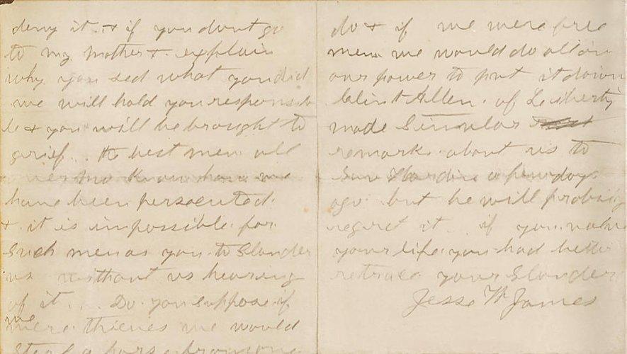 La lettre signée de la main de Jesse W. James devrait rapporter 300.000 dollars chez Bonhams New York.