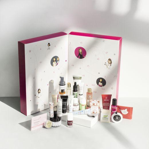 Le calendrier de l'Avent Mademoiselle bio - Prix : 89 euros - Site : www.mademoiselle-bio.com.