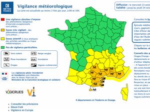 A l'instar des autres départements de l'arc méditerranéen, l'Aveyron a été placé en vigilance orange par Météo France. Une vigilance valable jusqu'à jeudi matin.