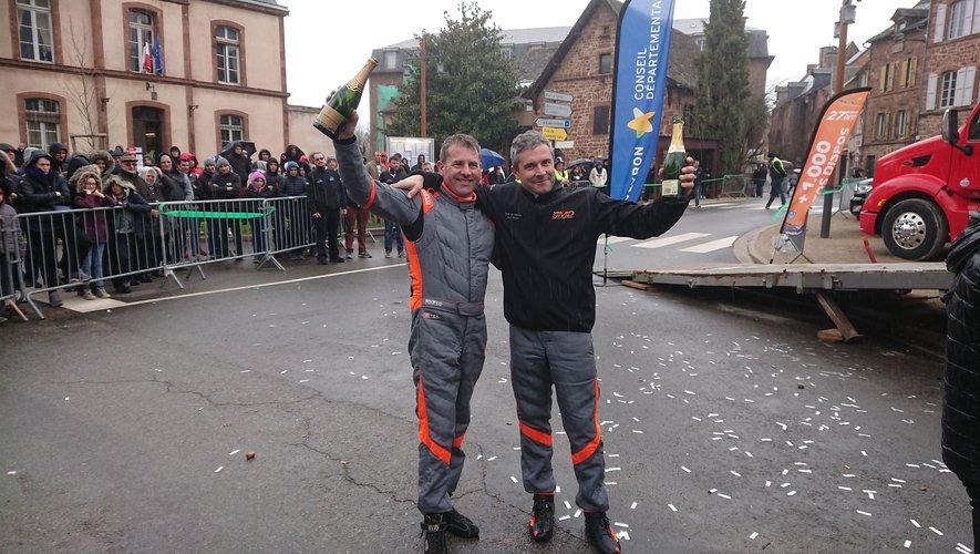 Sébastien Durand (à gauche sur la photo) avec Jean-Michel Da Cunha lors de la victoire à Marcillac en 2019