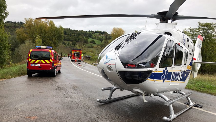 L'hélicopère sur les lieux de l'accident.