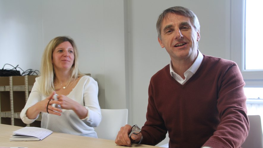 Bernard Fournié, directeur général du site de La Fouillade, en compagnie d'Aurélie Tacquard, présidente du groupe Galapagos.