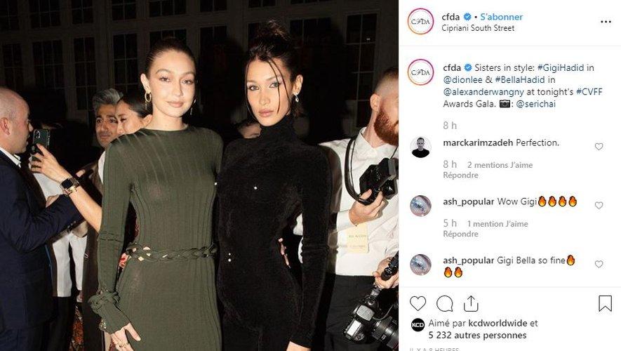 Bella Hadid portait une combinaison Alexander Wang lors de la soirée CFDA/Vogue Fashion Fund 2019.