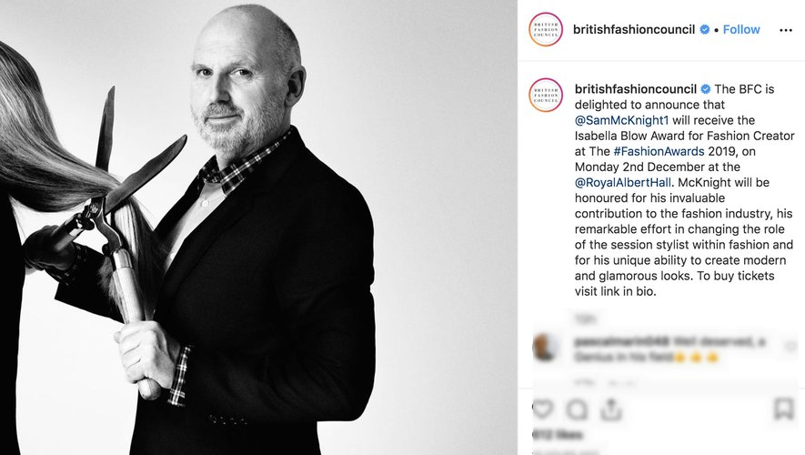Compte Instagram du British Fashion Council montrant le coiffeur Sam McKnight