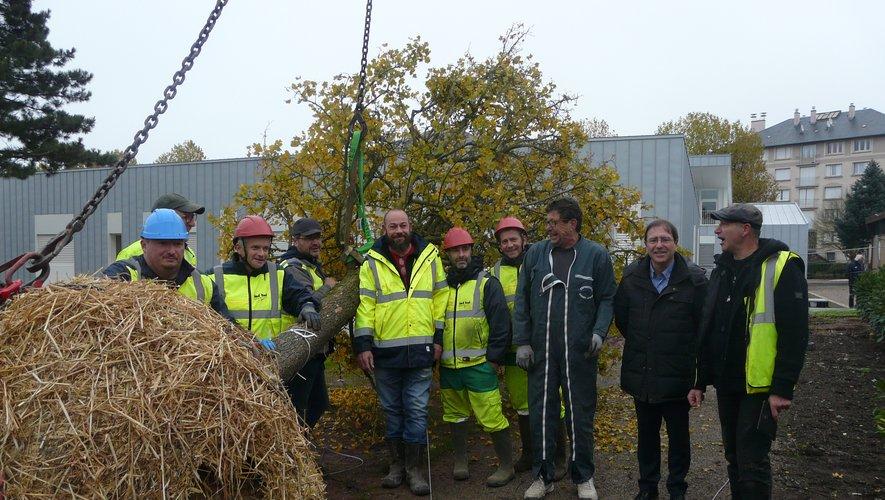 Autour de l'arbre, le maire et ses agents et le pépiniériste
