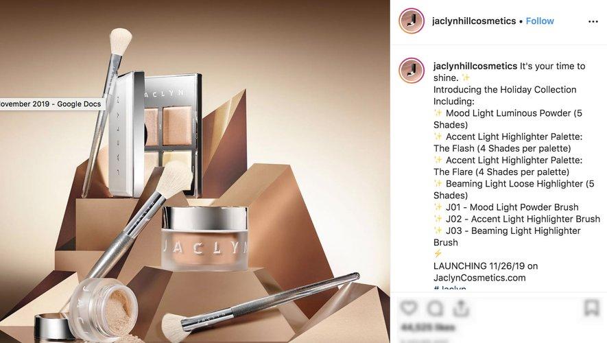 Jaclyn Hill relance officiellement sa marque Jaclyn Cosmetics avec une nouvelle série de produits pour les fêtes de fin d'année.