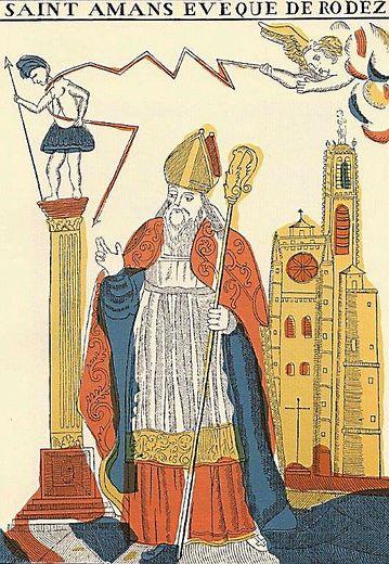 « L'évêque saint Amans considéré comme à la fois l'apôtre, le défenseur et le bienfaiteur de la ville ». Document extrait de « Le vieux Rodez » de Pierre Benoit, imprimerie Carrère 1912.