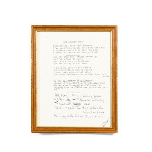 "Texte original de la chanson d'Elton John ""The Border Song"" comportant des annotations rédigées par le chanteur anglais."