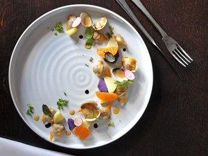 Salade de coques, clémentines et pommes de terre