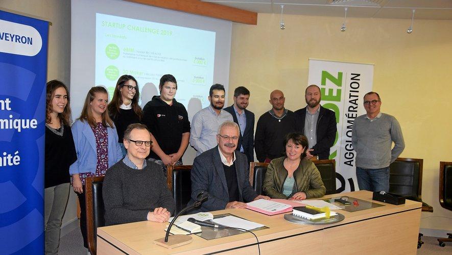 Les nouveaux startupers étaient présents lors de la signature de convention entre l'Agglo et la CCI.