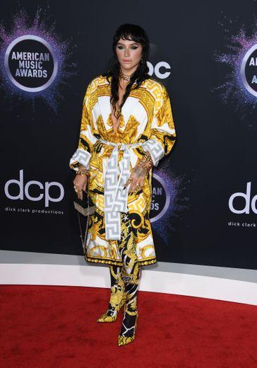 Sublime, Kesha n'en était pas moins tape-à-l'œil dans ce total look Versace dont l'imprimé est reconnaissable entre tous. Los Angeles, le 24 novembre 2019.