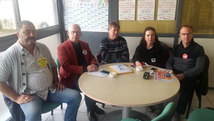 Les chefs de file départementaux des cinq organisations syndicales mobilisées le 5 décembre.
