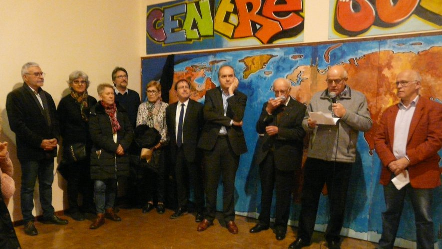 Lors des discours officiels, le président de la Caf, M. Soubrié, au micro.