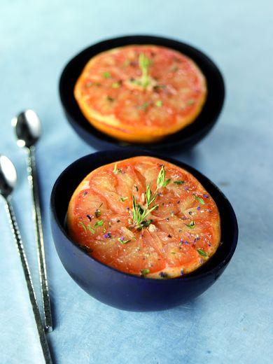 Pomelo rôtis au thym, miel et huile d'olive