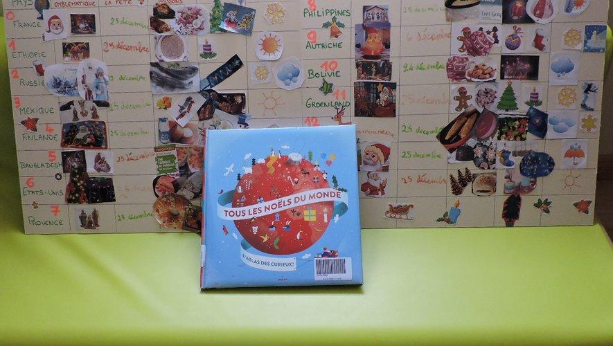 Tableau effectué par les enfants sur les Noëls du monde.