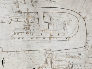 Extrait d'un plan du Bourg daté de 1495, conservé aux Archives départementales de l'Aveyron.