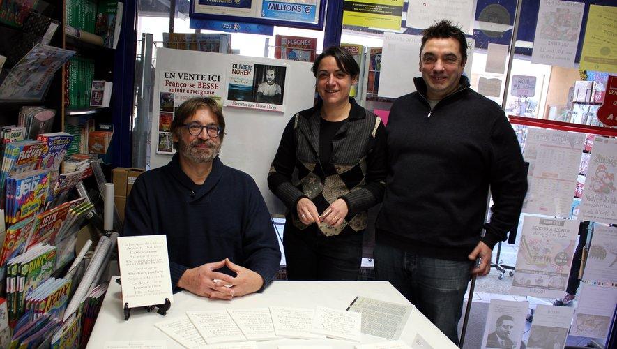 Francine et Frédéric Bousquet aux côtés de l'auteur.
