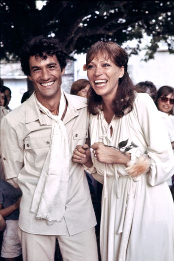 Anna Karina lors de son mariage avec l'acteur Daniel Duval le 1er juillet 1978