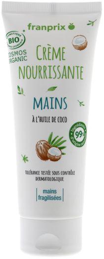 La crème pour les mains issue de la première gamme de cosmétiques bio de Franprix.