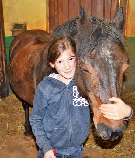 Complicité et bonheur partagé entre Marie, jeune cavalière et son cheval, lors des soins aux animaux au poney-club de Ferrals.