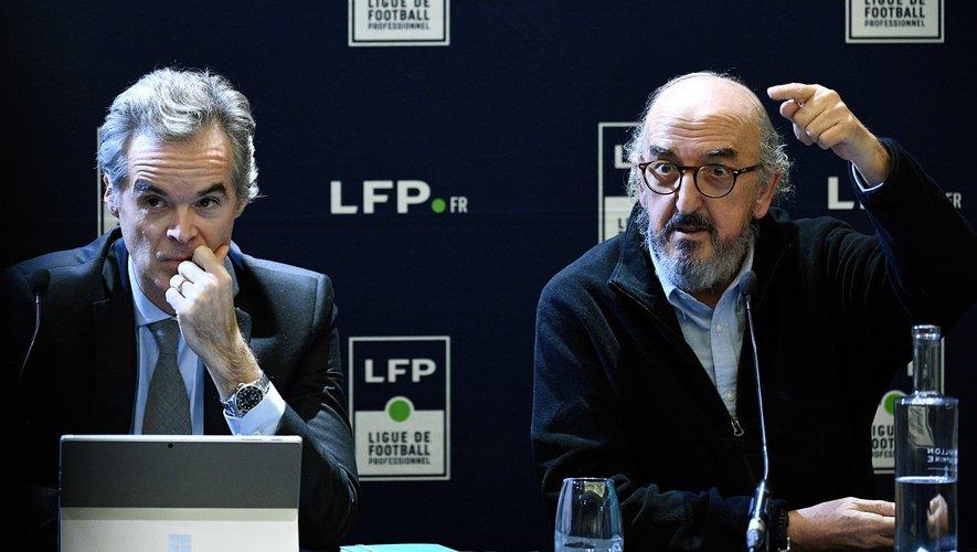 Jaume Roures et Julien Bergeaud de MediaPro, lors d'une conférence de presse à Paris