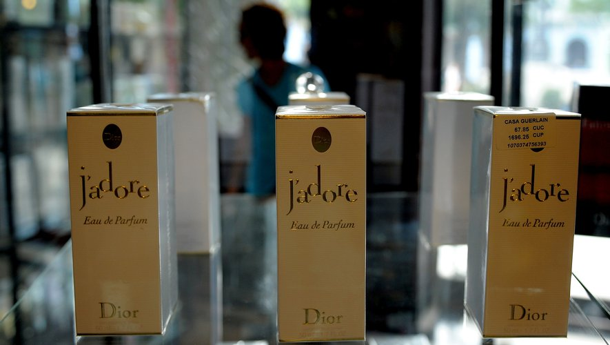 Dior's J'adore perfume on display in the new store opened by French perfume-maker Guerlain in Havana