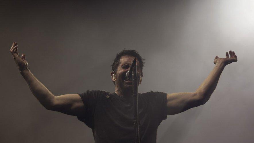 Le chanteur américain Trent Reznor du groupe Nine Inch Nails se produit sur la scène du 12ème festival Alive à Oeiras (Portugal) en juin 2018.