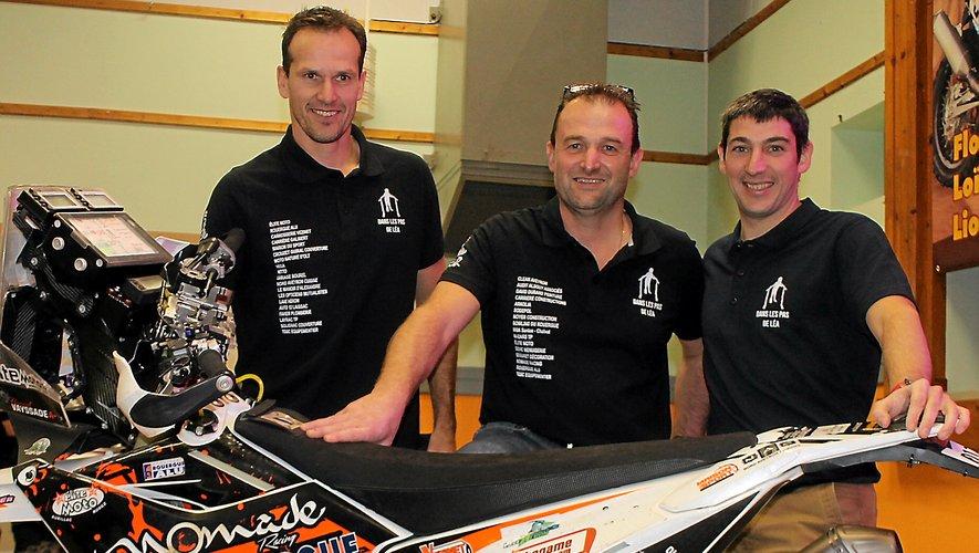 Les trois motards aveyronnais Vayssade, Costes et Minaudier.