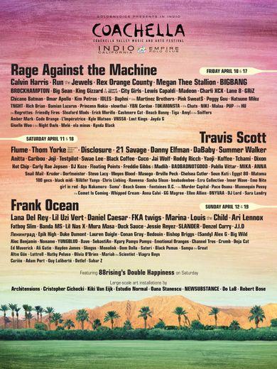 Rage Against the Machine, Frank Ocean et Travis Scott seront à l'édition 2020 du Festival de Coachella