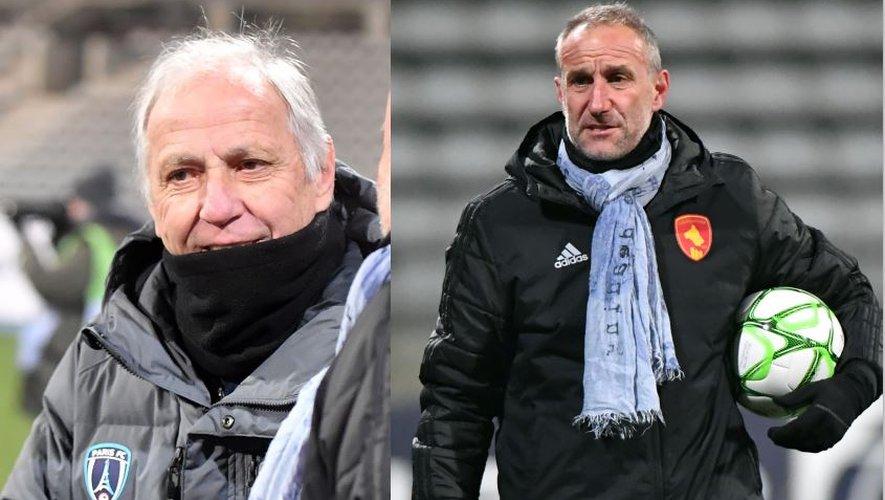 Les entraîneurs René Girard et Laurent Peyrelade, hier soir au stade Charléty.