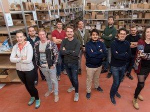 Une partie de l'équipe d'Aurore Market autour de Roman Régis, Thomas Limbert, Vincent Cotten et Hicham Aïssou, fondateurs de l'entreprise basée à Bozouls.