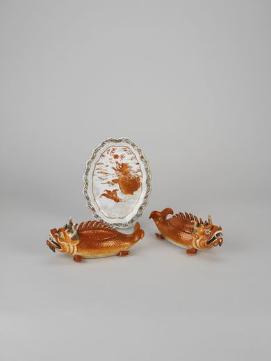 Pair of dragon carp tureens with covers and s tands Qing dynasty, Qianlong period (1736 - 1795), 1750 - 1770, China Porcelain decorated in overglaze iron red enamel and gold and famille rose enamels Tureens / RA Collection