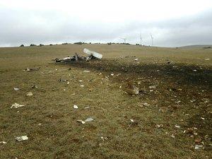 Peu après le crash, ce dimanche matin, sur le causse du Larzac.