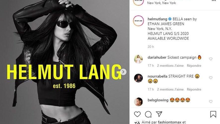 Bella Hadid prend la pose pour Helmut Lang pour le printemps-été 2020.