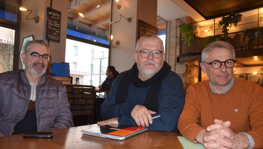 Patrick Fournier, Bernard Giraud et Dominique Treilles, membres de l'association Cyclo-motivés 12.
