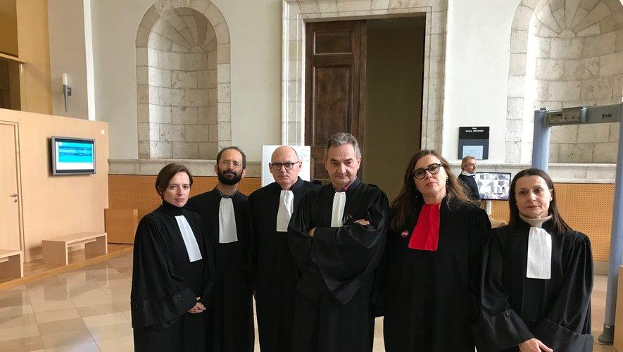 Six des sept avocats, tous en grève,  assurant la défense d'un seul prévenu, ce vendredi après-midi.