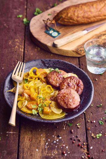 Mijoté de saucisse de Morteau et légumes orangés