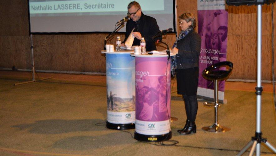 Gilles Duranton, président de la Caisse locale et Nathalie Lassere, secrétaire de la caisse locale ont présenté les résultats et les faits marquants de l'année 2019.