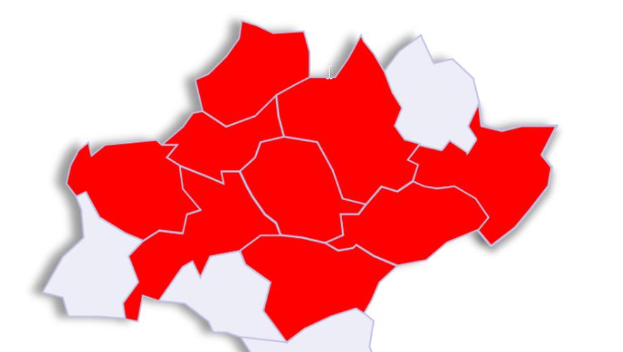 La carte des départements impactés, plus ou moins gravement, par le coronavirus.