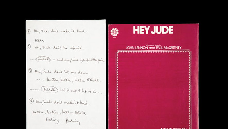 Texte de la chanson 'Hey Jude' écrites de la main de McCartney