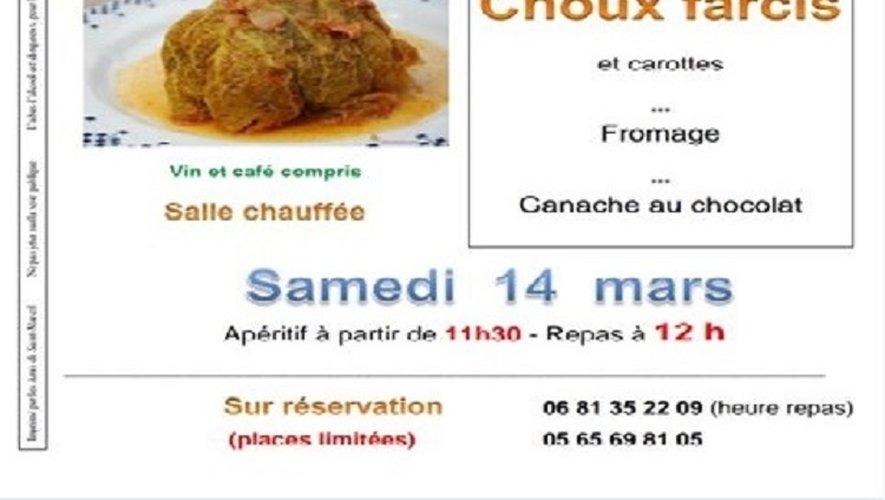 """Repas Choux farcis organisé par les """"Amis de Saint-Marcel"""" le samedi 14 mars"""