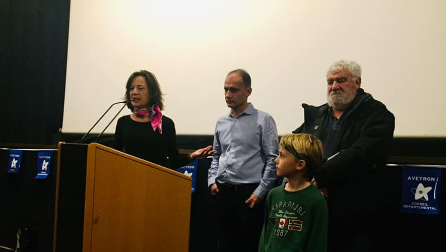 Muriel Peissik, Pascal Galopin, Gaspard Valance Larchevant et Jean Moisset lors de la présentation du film.