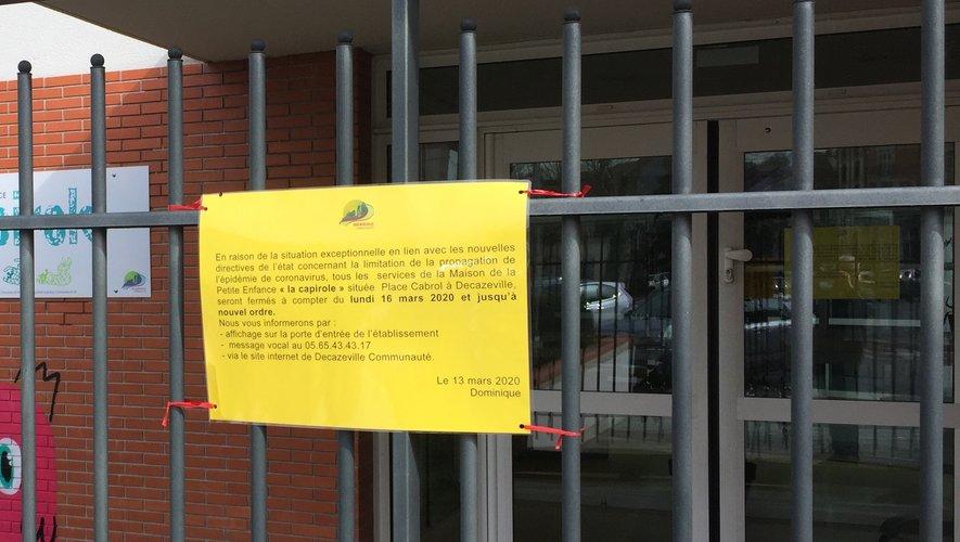 Les lieux recevant du public, comme ici le pôle petite enfance La capirole, sont fermés jusqu'à nouvel ordre.
