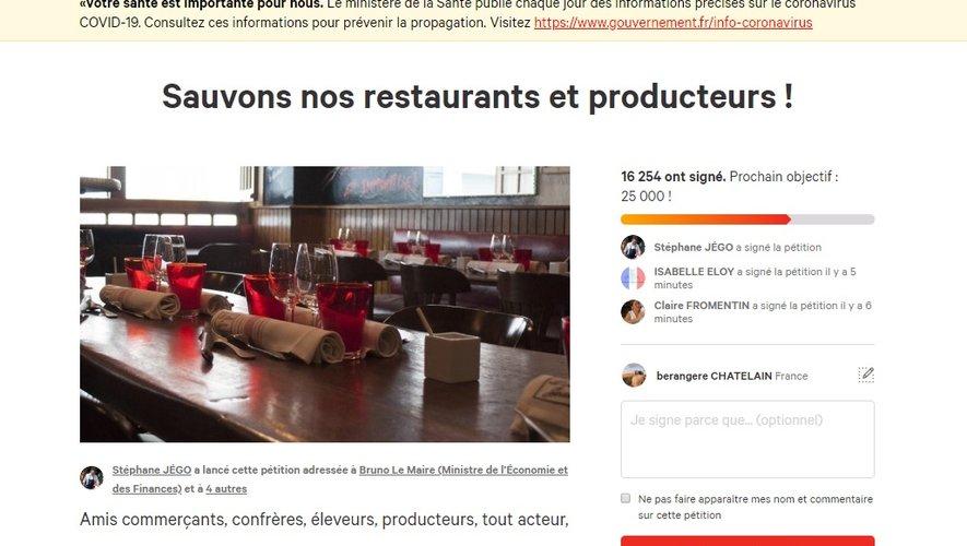 Le chef Stéphane Jégo a lancé une pétition pour décréter l'état de catastrophe sanitaire
