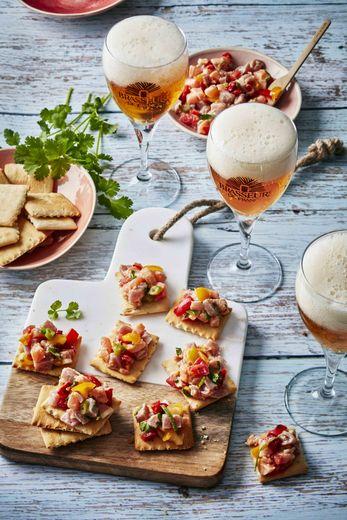 Ceviche de saumon et thon sur crakers