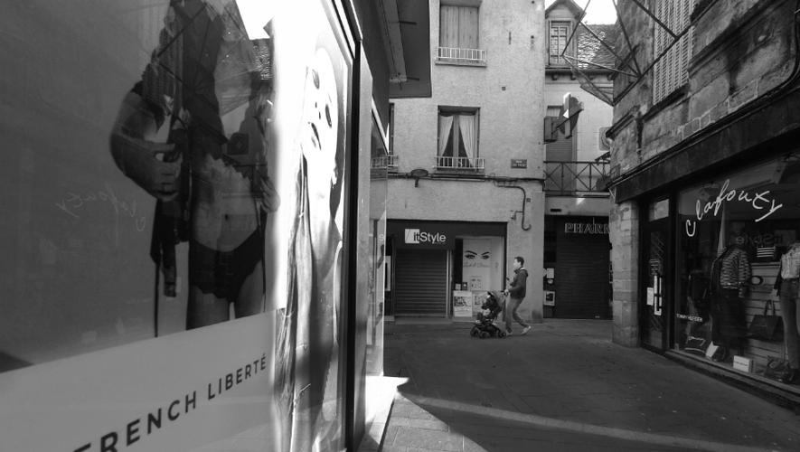 Les rues piétonnes de Rodez au temps du confinement, mars 2020.