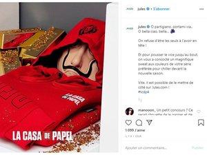 """Jules présente une collection de prêt-à-porter à l'effigie de la série """"La casa de papel""""."""