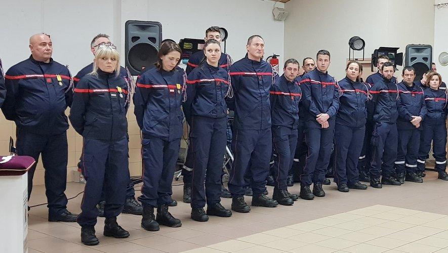 Une partie des pompiers du centre de secours de Rieupeyroux.
