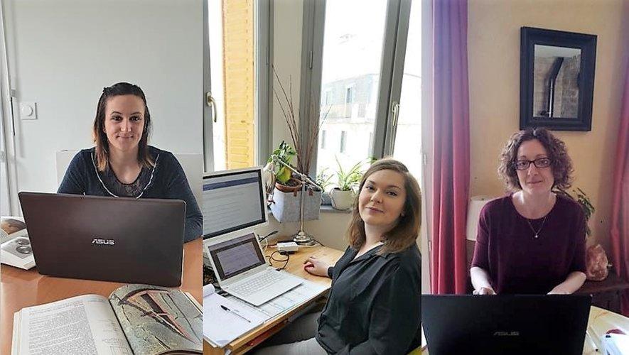 Sophie, Jade et Bérangère, les animatrices du musée, en télétravail.