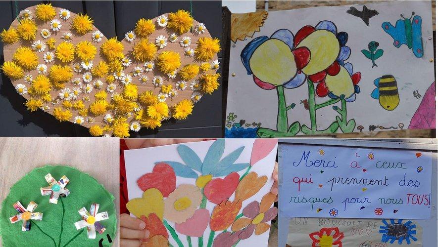 """Les écoliers ont fait un bouquet de cœurs pour remercier les """"héros du quotidien"""""""